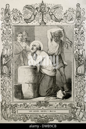 Lazarus of Bethany or Saint Lazarus. Jesus restores him to life for days after his death. Engraving. - Stock Photo