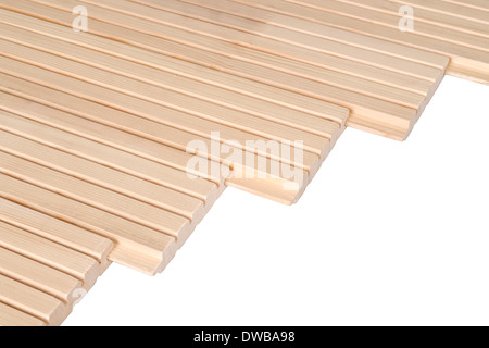 Pine floorboards isolated over white with clipping path. - Stock Photo