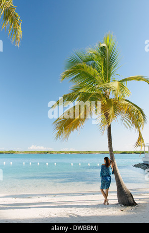 Young woman leaning against palm tree, Providenciales, Turks and Caicos Islands, Caribbean - Stock Photo