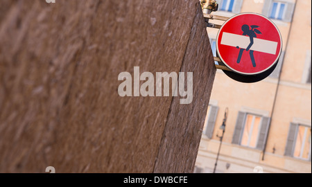 Italy, Rome, funny modification of traffic sign - Stock Photo