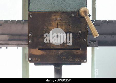 Germany, old truck scale with integrated printer - Stock Photo