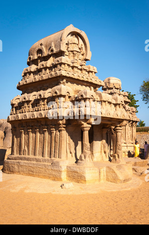 India Tamil Nadu Mamallapuram Mahabalipuram mandapas Kanchipuram south Panch five Rathas 7th century Nakul Hahdeva - Stock Photo