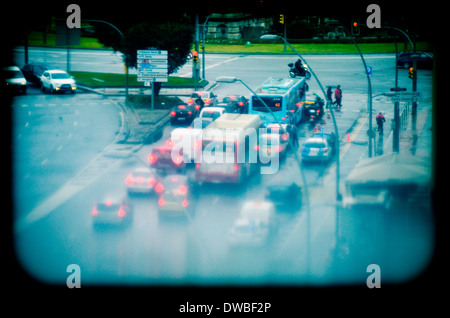 Traffic. Rainy day. Barcelona, Catalonia, Spain. - Stock Photo