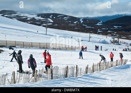 Instructors giving lessons on the ski slopes at Cairngorm Mountain Ski Centre by Aviemore, Cairngorms National Park, - Stock Photo