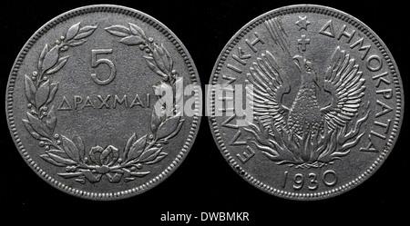 5 Drachmai coin, Greece, 1930 - Stock Photo