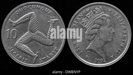 10 pence coin, Triskeles, UK, Isle of Man, 1992 - Stock Photo