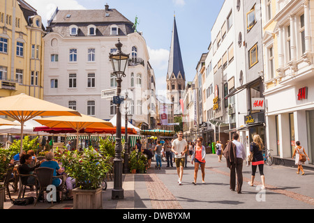Germany, North Rhine-Westphalia, Bonn, view to pedestrian area with street cafe - Stock Photo