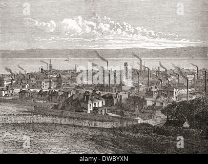 View of Dundee, Scotland, from The Law in the 19th century, when the city had over 60 jute mills. - Stock Photo