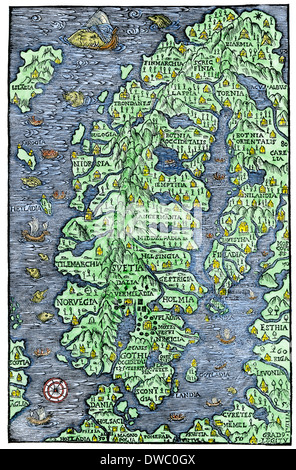 Map of Scandinavia, from the Carta Marina of Olaus Magnus, 1555. Hand-colored woodcut - Stock Photo