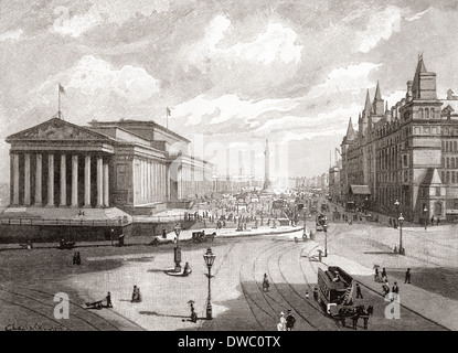 St. George's Hall and Lime Street, Liverpool, Lancashire, England in the 19th century - Stock Photo