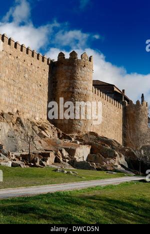 Part of the medieval walls of Avila. Castilla. Spain. - Stock Photo