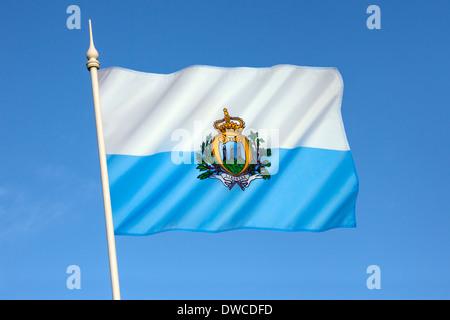 Flag of the Republic of San Marino. - Stock Photo