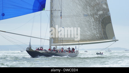 J-class yacht k7 Velsheda and crew during 2012 Solent regatta - Stock Photo