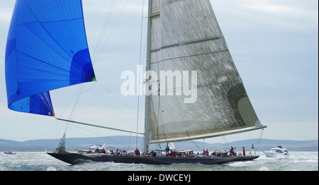 J-class yacht k7 Velsheda and crew during 2012 j-class regatta off the isle of wight - Stock Photo