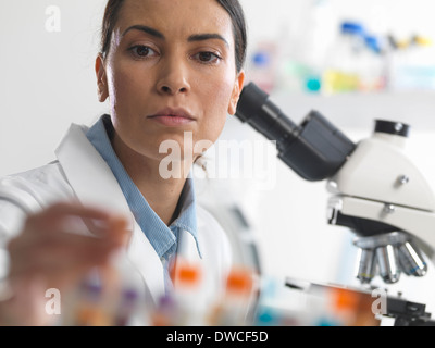 Female scientist about to view a blood sample under a microscope - Stock Photo