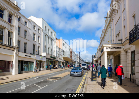 Shops on The Parade in the town centre, Royal Leamington Spa, Warwickshire, England, UK - Stock Photo