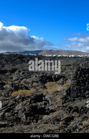 Lava flow and bubbles (jameos) of volcanic eruptions on the island of Lanzarote between 1730 and 1736. - Stock Photo