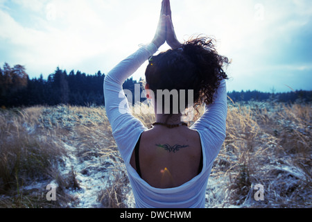 Mid adult woman practicing standing tree yoga pose - Stock Photo