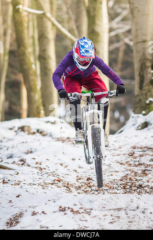 Young female mountain biking in winter forest - Stock Photo