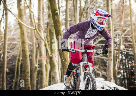 Young female mountain biker riding through forest - Stock Photo