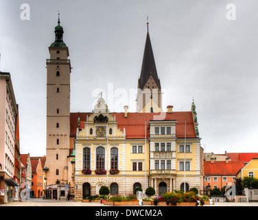 Town hall and market church of Ingolstadt, Bavaria, Germany - Stock Photo