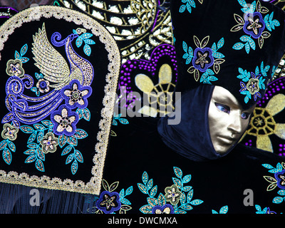 Beautiful male mask on Venice Carnival - Stock Photo