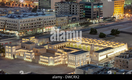 Doha, Qatar, elevated view over the city centre Mosque - Stock Photo