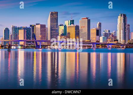 Miami, Florida, USA downtown skyline at dawn. - Stock Photo