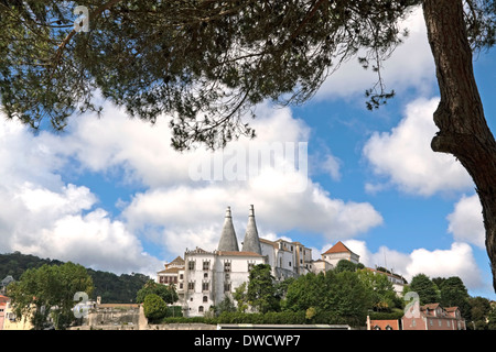 Sintra National Palace, an imposing UNESCO building and the best preserved medieval Royal Palace in Portugal. - Stock Photo