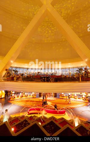 Burj al Arab hotel interior, ornate luxury in the foyer lobby on the first floor, Dubai, UAE, United Arab Emirates - Stock Photo