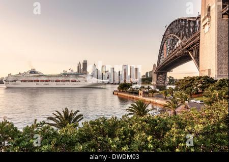 Dawn Princess cruise ship entering Sydney Harbor Australia - Stock Photo