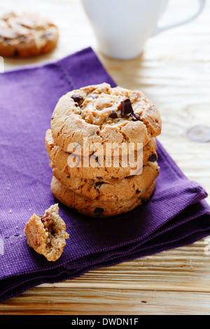 stack of cookies with chocolate chip, food closeup - Stock Photo