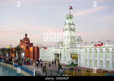Yemen and Pakistan Pavilions at  Global Village tourist cultural attraction in Dubai United Arab Emirates - Stock Photo