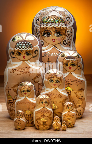 A matryoshka doll, also known as a Russian nesting doll - Stock Photo