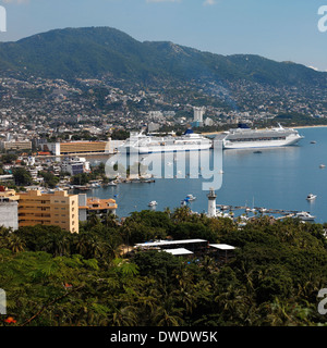 Cruise ships in Acapulco Bay on the Pacific coast of Mexico - Stock Photo