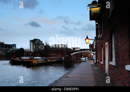 Narrowboats moored in Gas Street Basin, Worcester and Birmingham Canal, Birmingham City, West Midlands, England, - Stock Photo