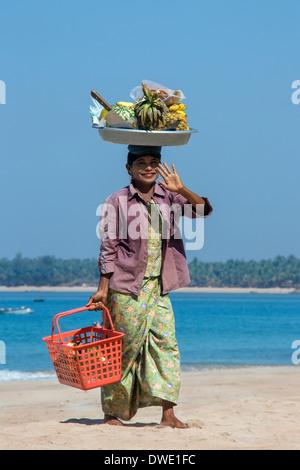 A Burmese Fruit Seller - Ngapali Beach - Rakhine State - Myanmar (Burma). - Stock Photo