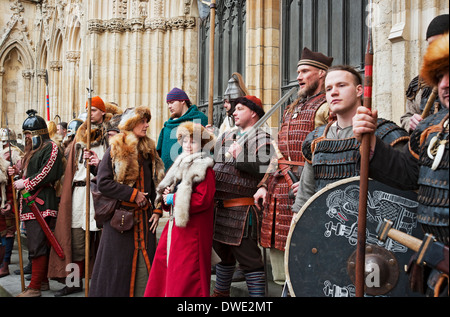 People in costume outside the Minster during the annual Viking Festival York North Yorkshire England UK United Kingdom - Stock Photo