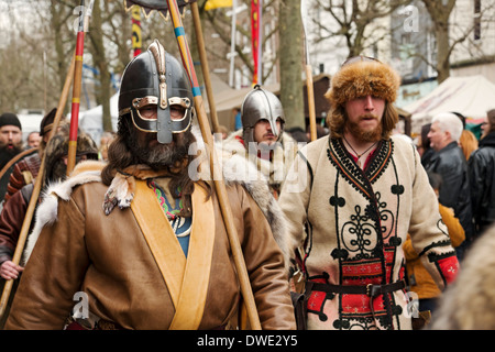 Procession through the streets during the Viking Festival York North Yorkshire England UK United Kingdom GB Great - Stock Photo