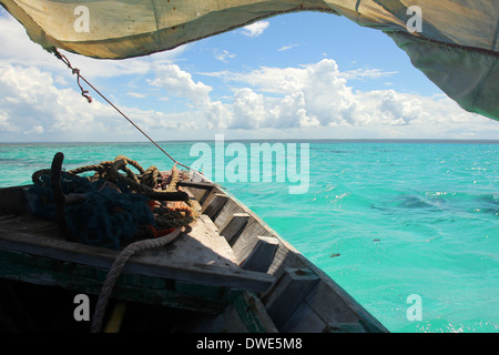 Boat sailing on Mozambican waters at Quirimbas National Park. Mozambique. - Stock Photo