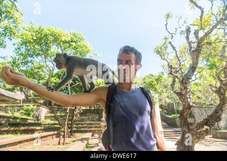Tourist feeding macaque monkey from his hands - Stock Photo