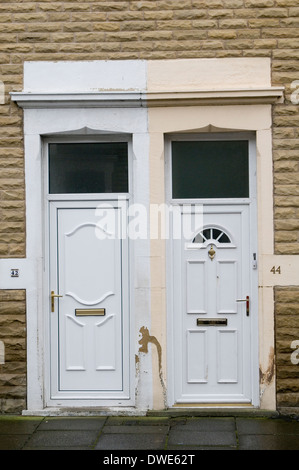terraced house houses housing terrace north uk northern england in the street streets working class home homes terraces - Stock Photo