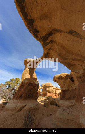 Metate Arch at Devils Garden near Escalante, Utah, United States - Stock Photo