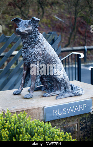 Statue of Ruswarp at Garsdale Station Settle to Carlisle Line Cumbria England - Stock Photo