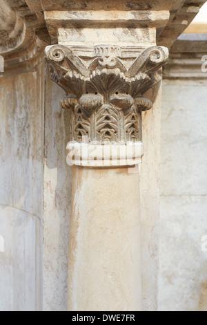 Corinthian column and capital in roman theater - Stock Photo