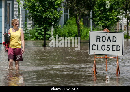 Flooding of Mohawk River, Fort Plain, New York State, USA. - Stock Photo