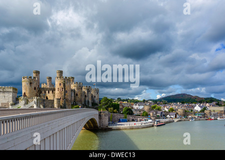 View of Conwy Castle and harbour, Conwy, North Wales, UK - Stock Photo