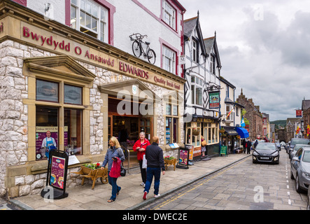 Shops on High Street, Conwy, North Wales, UK - Stock Photo