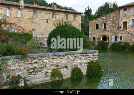 Bagno Vignoni in The Val d'Orcia, Tuscany, Italy - Stock Photo