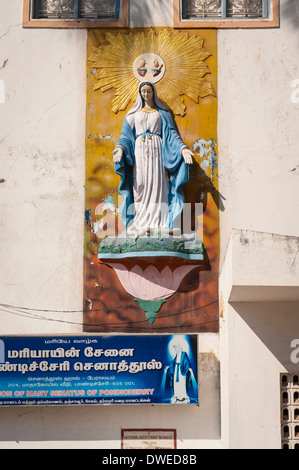 India Tamil Nadu Pondicherry Puducherry Church of our Lady of the Immaculate Conception Cathedral Street statue - Stock Photo
